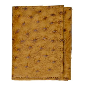 Ostrich Leather Wallet - Tan