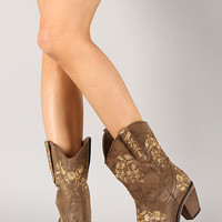Beata-4 Embroidered Floral Cowboy Mid Calf Boot