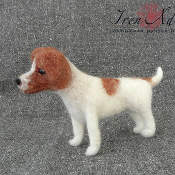 Jack Russell Terrier wool miniatures, needlefelted toy, natural wool dog, miniature toys, mini pet