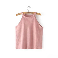 Halter Neckline Vintage Faux Leather Vest Crop Top