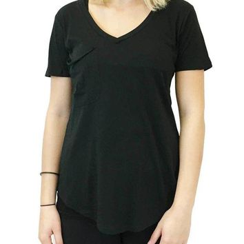 DCCKAB3 Z Supply The Micro Modal Pocket Tee Black Top