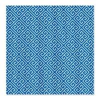 Dazzling Blue and White Greek Key Pattern Shower C