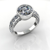 Forever Brilliant Moissanite and Diamond Engagement Ring 4.50 CTW