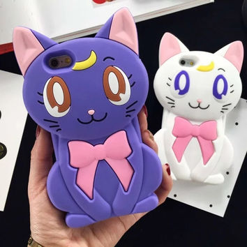 Anime Sailor Moon Luna Cat Silicone iPhone Case Cover with Headphone Jack Dust Plug