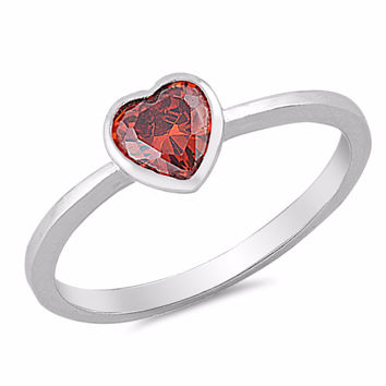Sterling Silver CZ Simulated Garnet Bezel Heart Solitaire Ring