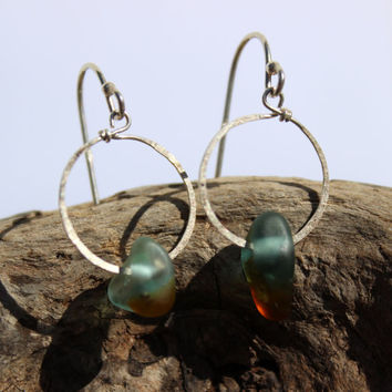 Hawaiian Small RARE Dark Aqua Teal & Amber Brown Multi Bonfire Beach Glass on Hammered 925 Sterling Silver Circular Wire Small Hoop Earrings