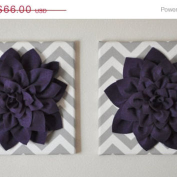 "MOTHERS DAY SALE Two Wall Flower -Deep Purple Dahlia on Gray and White Chevron 12 x12"" Canvas Wall Art- Baby Nursery Wall Decor-"