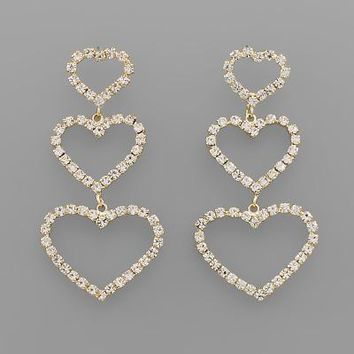 Crystal Heart Dangle Earring