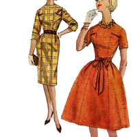 1960s Dress w/ Concealed Pockets in Bodice Vintage Sewing Pattern Simplicity 5534 Full Flared or Pencil Wiggle Skirt Size 18/Bust 38 Mad Men