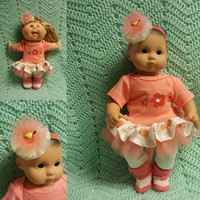 "15 inch Baby Doll ""Peachy Blossoms"" doll outfit Will fit Bitty Baby® Bitty Twins®  dress shorts socks headband"
