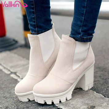 VALLKIN Fashion Women Boots Fashion Ankle Boots High Heeled Shoes Thick Heel Platform Motorcycle Wedding Snow Size 34-43