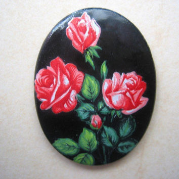 Vintage cameo cabo cabochon flatback Black glass red rose 30 x 40mm (1)