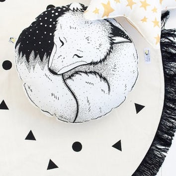 Sleepy Fox Organic Hand Printed Cushion Pillow Round