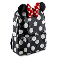 Disney Parks Minnie Mouse Black Dot Sequin Backpack Bookback Bow New