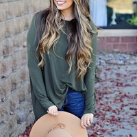 * Don't Hesitate Oversized Top- Olive