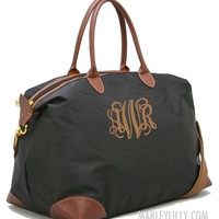 Monogrammed Black Weekend Travel Bag | Preppy Custom Tote|Marley Lilly