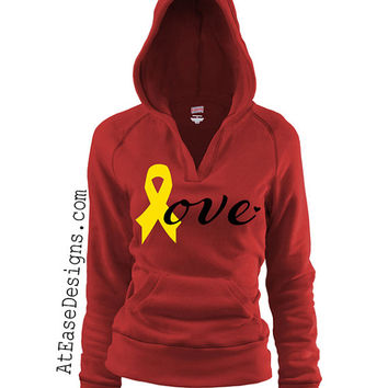 Red Friday. Military love hoodie - pullover. support our troops yellow ribbon usmc navy army usaf wife girlfriend At Ease Designs