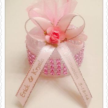 12 Personalized Baptism Gift Boxes with Mini Rosary Favors Communion Recuerdos de Bautizo