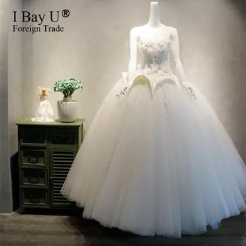 Luxury Ivory 3D Flowers Wedding Dress 2017 Lace Sweetheart Neck Romantic Princess Bridal Gown Arabic Victorian Gothic Corset