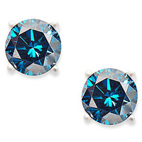 14k White Gold Earrings, Treated Blue Diamond Stud Earrings (1 ct. t.w.)