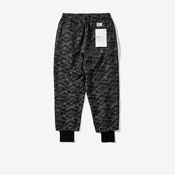 soullab high quality dark camo layer men bottom jogger legging pants military drop crotch harem trousers fashion swag clothing