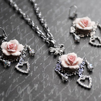 Glam Silver Wedding Necklace Earrings Set, Pink Rose Necklace, Crystal Heart Wedding Jewelry, Bridal Jewelry, Pink and Silver Wedding, SRAJD