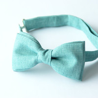 Mens bow tie by Bartek Design - groom wedding classic retro necktie chic gift ready to wear - linen mint celadon aquamarine