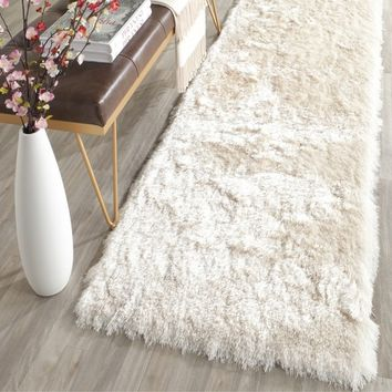 Safavieh Handmade Silken Glam Paris Shag Ivory Runner (2' 3 x 14') | Overstock.com Shopping - The Best Deals on Runner Rugs