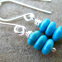 Turquoise Earrings Sterling Silver Petite Jewelry Teal Blue Stack Earrings