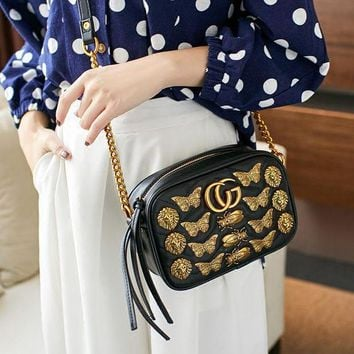 DCCK6HW Gucci' Women Fashion Insect Animal Rivet Metal Chain Single Shoulder Messenger Bag Small Square Bag