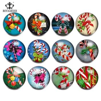RoyalBeier 12pcs/lot Christmas Gift & Bell Mixed Glass Charms 18mm Snap Button For 20mm Snap Bracelet Snap Jewelry KZ0832