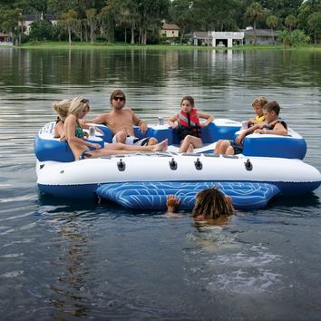 Sea Doo Mega Island 8 Person Inflatable Party Raft w/4 Speaker Music System