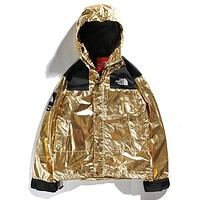 Supreme & The North Face Newest Fashionable Couple Metal Color Hoodie Cardigan Jacket Coat Windbreaker Golden