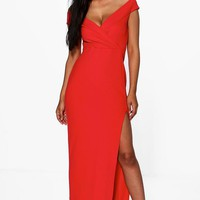 Amie Wrap Top Off Shoulder Maxi Dress | Boohoo