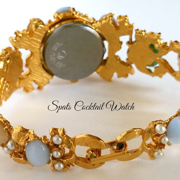 Spats 1980s Jeweled Art Glass Cluster Cabochon Pearl Rhinestone Gold Tone Cocktail Watch