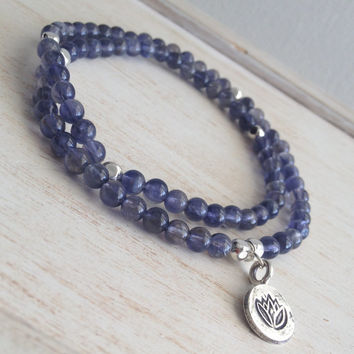 Iolite Water Sapphire Beaded Stretch Wrap Bracelet, Lotus Flower Charm, Sterling Silver Beads, Trendy Stack Wrap Bracelet