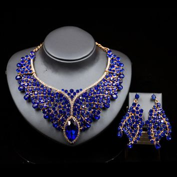 Lan palace  nigerian beads necklace jewelry set gold color necklace and earrings for wedding six colors free shipping