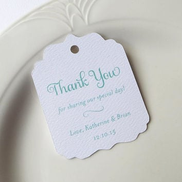 Mint Thank You Tags, Personalized Gift Tags, Shower or Wedding Favor Tags, Product Label, Welcome Bag, Other Colors Available - Set of 20