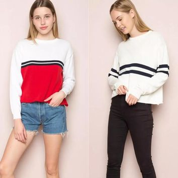 Winter Women's Fashion Knit Pullover Hot Sale Stripes Sweater Bottoming Shirt [31066488858]