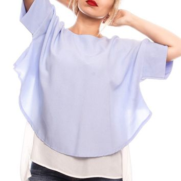 BABY BLUE ROUND NECKLINE TOP FLOW FABRIC SIDE CUTOUT LOOK CASUAL TOP