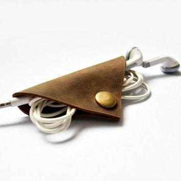 PEAPEJ6 Handmade Leather Cable Cord Winder Holder