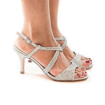 Nono8 By Blossom, Rhinestone & Glitter Open Toe Criss Cross Sling Back Kitten Heels