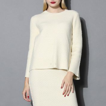 Sassy Cream Twill Knit Top and Skirt Set