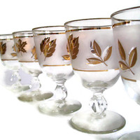 Mid Century Libbey Glasses, Gold Leaf,  Frosted Glass, Goblets, Wine Glasses,  Stemware, Vintage Barware, Set of 5, Retro Glassware,