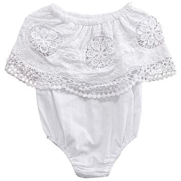 Cute Newborn Infant Baby Girl Kids Lace Retro crochet Romper Lotus collar Jumpsuit Clothes Outfits