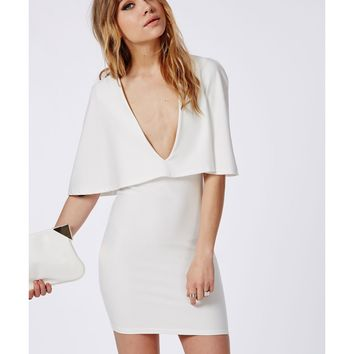 Missguided - Crepe Cape Bodycon Dress White