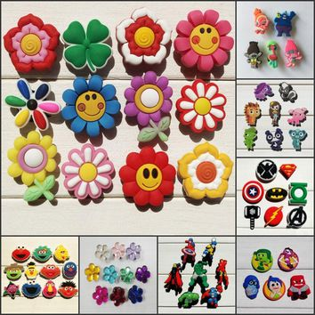 12-13PCS Hello Kitty Avengers Super Hero Star Wars PVC Shoe Charms,Shoes Accessories Fit Bands Bracelets Croc JIBZ Kids Gift