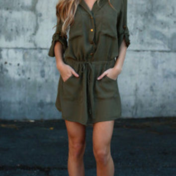 Army Green Dress Button Down Waist Drawsting Pockets Dress