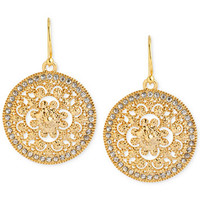 Hint of Gold Crystal Filigree Drop Earrings in 14k Gold-Plated Brass | macys.com