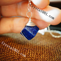 Lapis Necklace Genuine Wired Wrapped Cube Lapis Lazuli Necklace